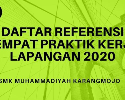 Daftar Referensi Tempat PKL Tahun 2020 SMK Muhammadiyah Karangmojo